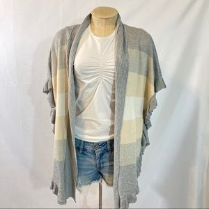 Joseph A. Open cardigan ruffled knit stripe NWT